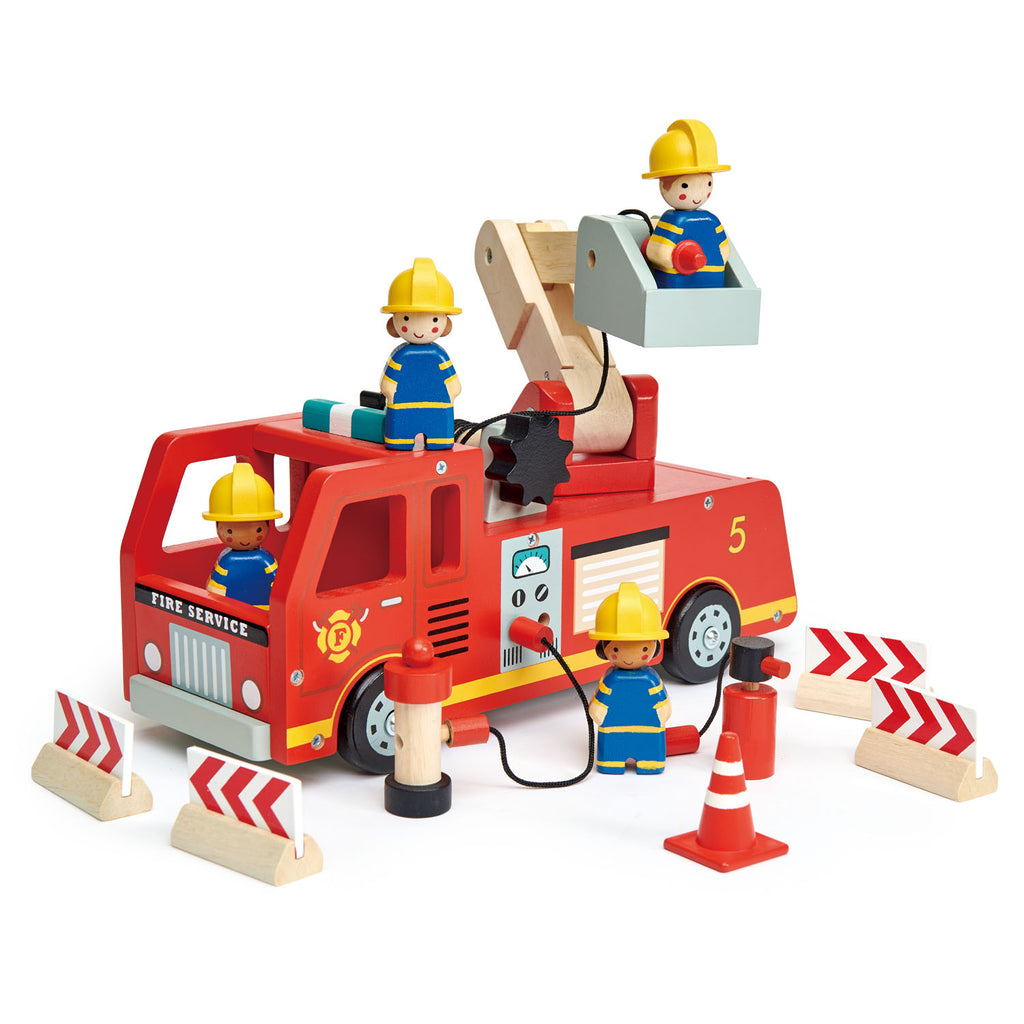 Tender Leaf Toys wooden fire engine in bright red with fire fighter characters