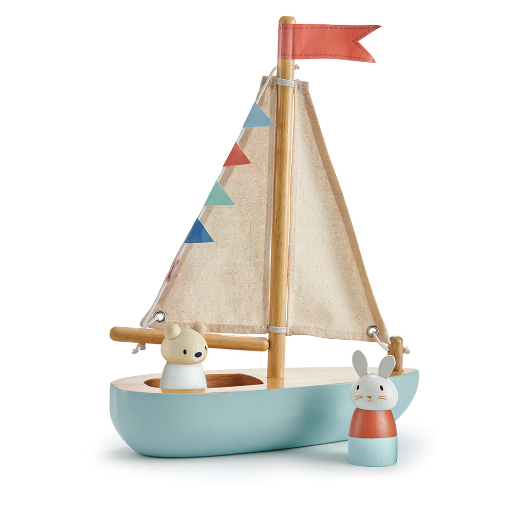Tender Leaf wood toy plastic free boat with bubble and squeak characters perfect for open ended play and montessori dolls house accessories