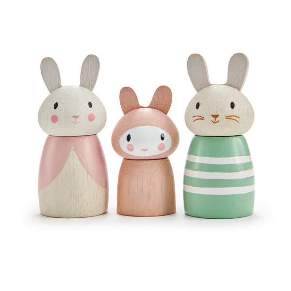 tenderleaf solid wood plastic free bunny doll family with mummy daddy and baby all with character names printed underneith. Open ended play and dolls world perfect gift and toy for children.