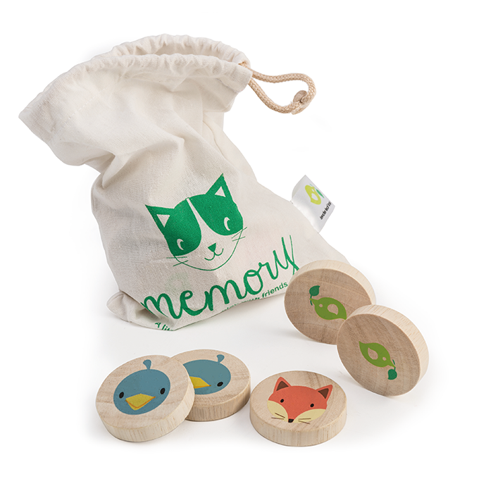 Tender Leaf Toys wooden memory game with animal faces
