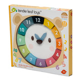 Tender Leaf Toys wooden educational clock and colour game with 2 brightly coloured wooden number blocks