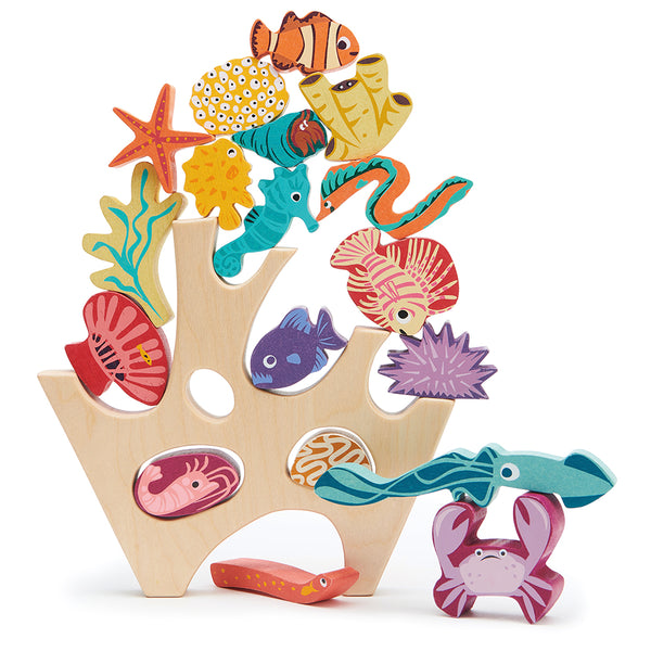 completely plastic free toy wooden stacking under the sea coral rock sea creatures including a shrimp, a squid, a crab, two eels, a sea urchin, a sea anenome, a starfish, a seahorse, three fish, four coral pieces, and a hermit crab.