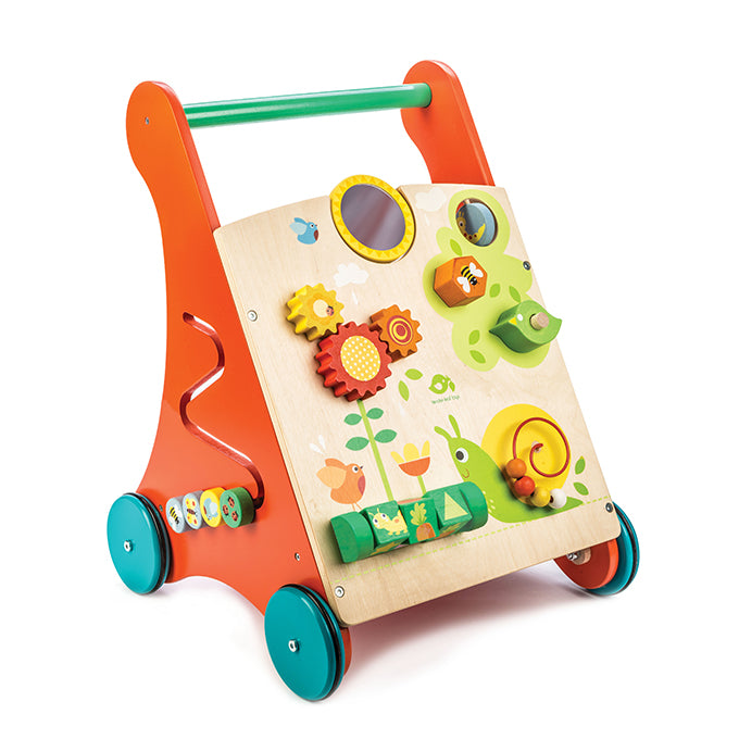 Tender Leaf Toys wooden walker with activities for toddlers