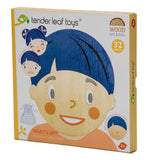 Tender Leaf Toys wooden magnetic face puzzle game with 28 magnetic facial parts to put together and convey all emotions