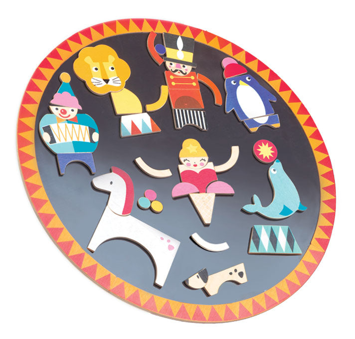 Tender Leaf Toys wooden magnetic circular circus board with 38 magnetised pieces to create lots of circus characters