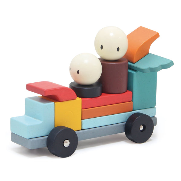 Tender Leaf Toys wooden set of 14 vehicular themed magnetic blocks, made from solid rubber wood and concealed multi directional magnets