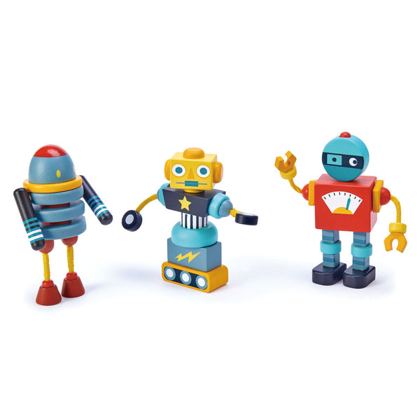 Tender Leaf Toys wooden robot construction set includes 3 brightly coloured and retro style robots that all come apart so that they can be reconstructed in a variety of ways for creative play