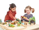 Tender Leaf Toys wooden train set with 30 track pieces and lots of accessories