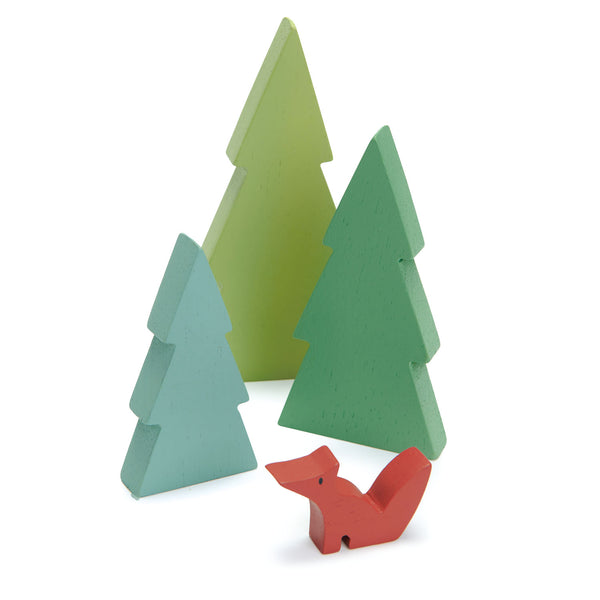 Tender Leaf Toys wooden train set accessory set of simple fir tree silhouettes in green