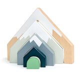 Tender Leaf Toys wooden train set accessories. 5 mountain shape arches are all cut from one solid piece of rubberwood and illustrated to evoke the natural world