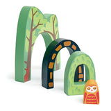 Tender Leaf Toys wooden train accessory tunnel set with 4 interlocking pieces