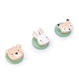 Tender Leaf Toys wooden 3 lovely hooks to place anywhere in the home. A fox, rabbit and a bear adorn the 3 coat hooks
