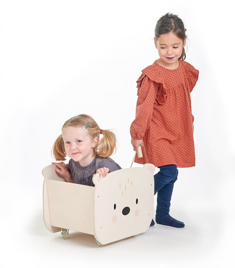 Tender Leaf Toys wooden box on 4 wheels in white