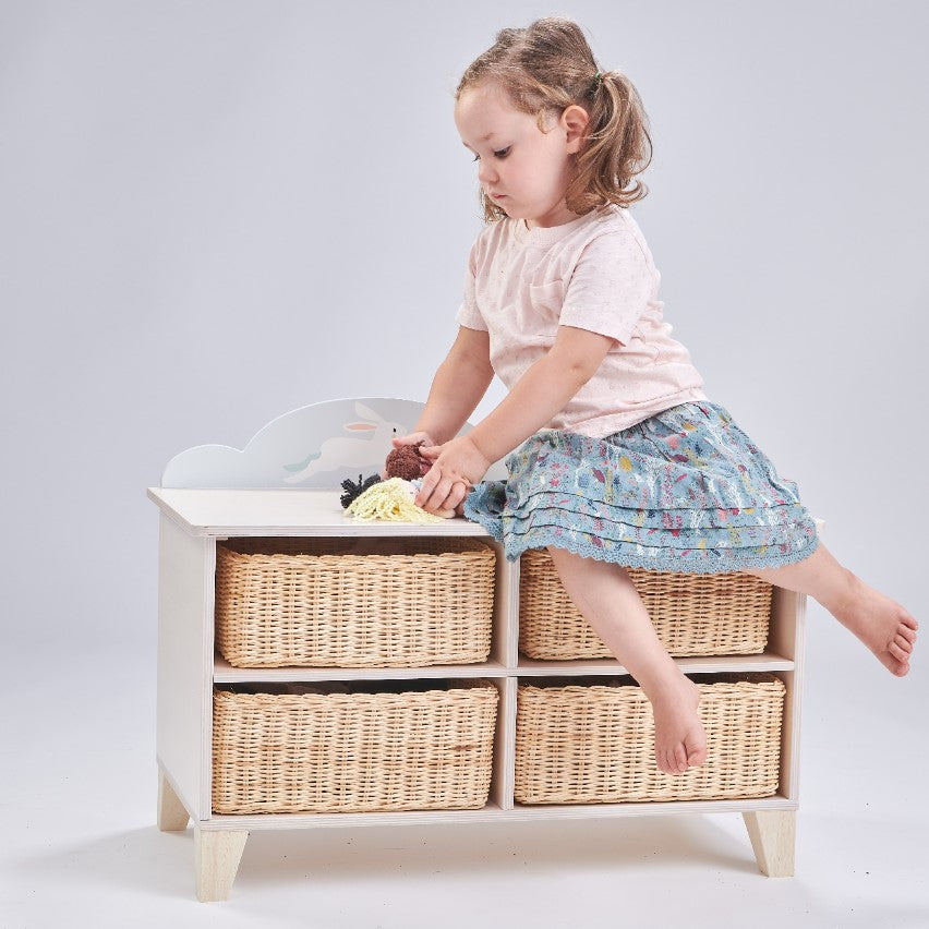 Tenderleaf furniture wooden storage unit with wicker baskets completely plastic free nursery decor