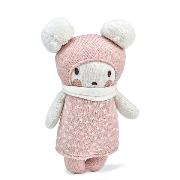 threadbear design baby and toddler toys soft knitted bear doll with pom pom ears and a scarf in spotty pink and white cream