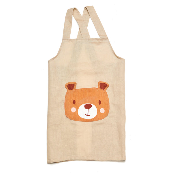 linen apron for children with bear pocket machine washable and plastic-free in beige