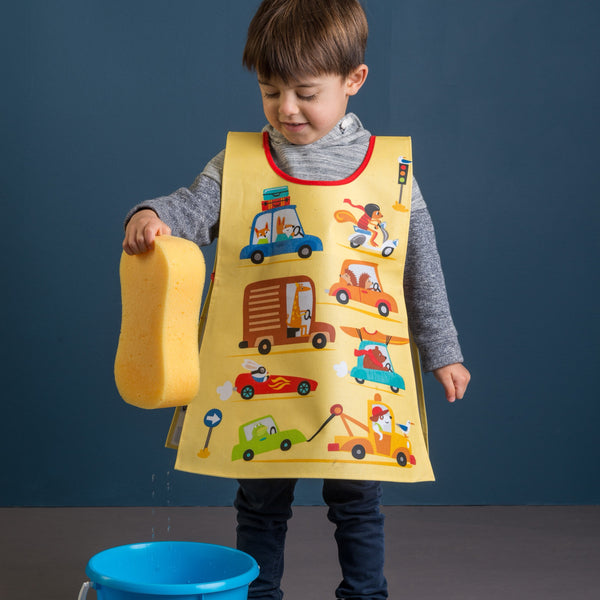 ThreadBear Design Biodegradable apron tabard with cars and transport print in yellow