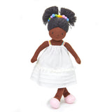 plastic-free rag soft doll with rainbow hair band and white dress