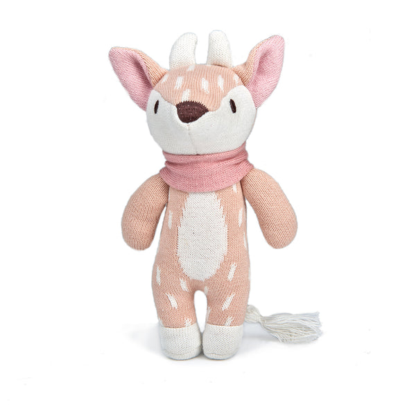 threadbear design baby and toddler toys soft knitted deer doll in pale pink and cream spots