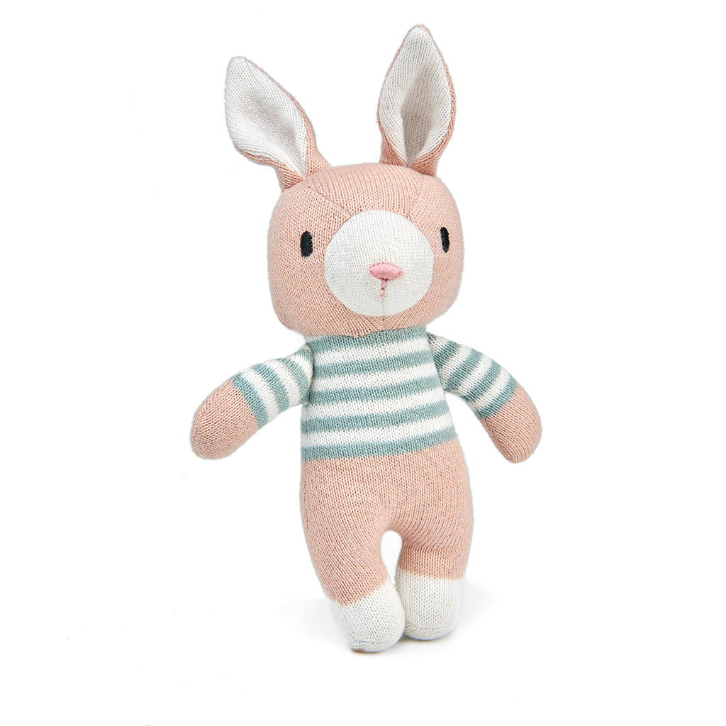 threadbear design baby and toddler toys soft knitted bunny doll in pale blue and cream stripes