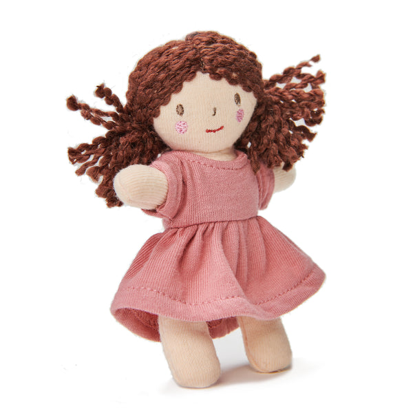 Mini mimi doll with bendy arms and legs with pink dress perfect gift idea for children dolls house doll tiny plastic-free toys