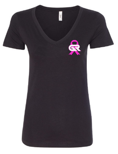 Breast Cancer Awareness Ladies V-Neck T-Shirt