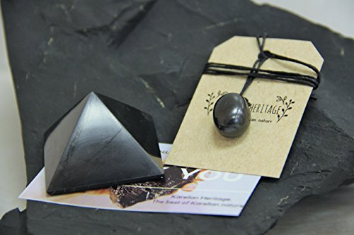 Karelian Heritage Shungite Pyramid and Shungite Pendant Stone Protection  Set from Russia Gift for Him Her (Tumbled Drop) S003
