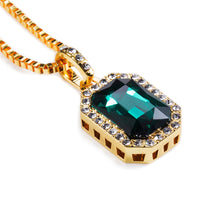 Hipsters Popular Jewelry Rectangular Anti-radiation big Stone Pendants Gold Box Chains Necklace For Mem Women Hip Hop Joyas