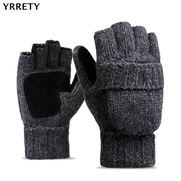 YRRETY Unisex Plus Thick Male Fingerless Gloves Men Wool Winter Warm Exposed Finger Mittens Knitted Warm Flip Half Finger Gloves