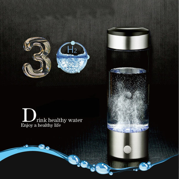 Hydrogen Water Generator Alkaline Water Maker Rechargeable Portable Water Ionizer Bottle 380ml USB Line