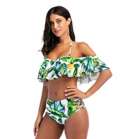 Sexy Women Pineapple Print Ruffle Swimsuit Cutout Bikini Set Push Up Swimwear Bathing Suit Green