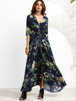 Long Sleeve Dress Green Tropical Beach Vintage Maxi Dresses Casual V Neck Belt Lace Up Tunic Draped Plus Size Dress
