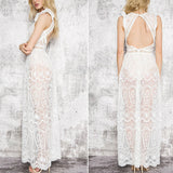 Sexy Hollow Out White Lace Dress Women Spring High Waist Sleeveless Backless Dress Elegant Christmas Maxi Long Dress Vestidos