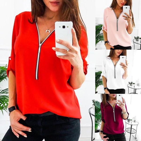 Womens Lady Work Sexy V-neck Chiffon T-shirt Shirt Blouse Tops Clothes Plus Size