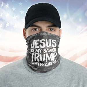Jesus Is My Savior Trump Is My President Camo Pattern 2020 Neck Gaiter
