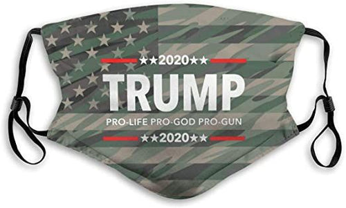 Trump 2020 Pro Life Pro God Pro Gun Reusable Washable Cloth Mask