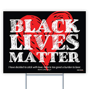 "Black Lives Matter BLM Heart 24""x18"" Decorative Campaign House Garden Yard Signs 