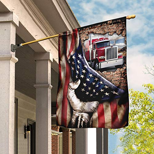 Truck Driver American Garden Flags | House Flags | Double Sided Decorative Yard Flag For Spring Summer Fall Winter