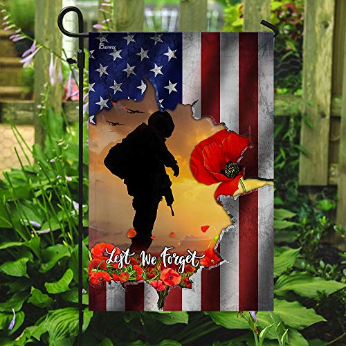 Lest We Forget Veteran Garden Flags | House Flags | Double Sided Decorative Yard Flag For Spring Summer Fall Winter