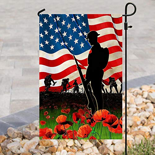 U.S Veteran Poppy Veteran Garden Flags | House Flags | Double Sided Decorative Yard Flag For Spring Summer Fall Winter