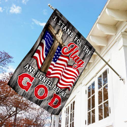 Stand For The Flag Kneel For God American Vintage Garden Flags | House Flags | Double Sided Decorative Yard Flag For Spring Summer Fall Winter