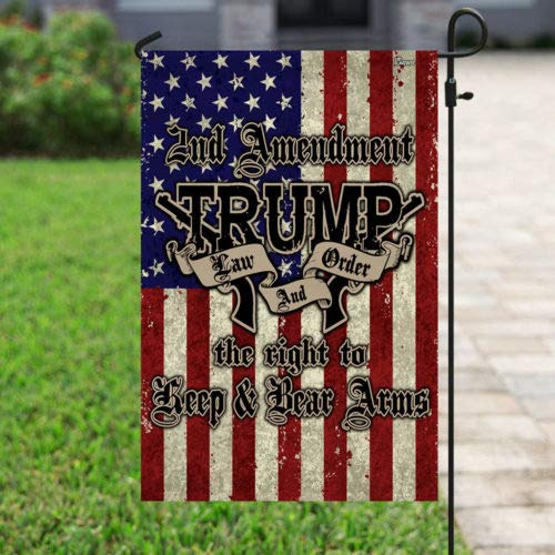2nd Amendment Trump 2020 Law And Order Keep Bear Arms American Garden House Flags | Double Sided Decorative Yard Flag For Spring Summer Fall Winter
