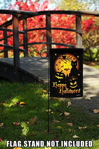 Halloween Home Garden Scary Spooky Cat Pumpkin Garden Flags | House Flags | Double Sided Decorative Yard Flag For Spring Summer Fall Winter
