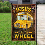Jesus Take The Wheel School Bus Driver Garden Flags | House Flags | Double Sided Decorative Yard Flag For Spring Summer Fall Winter