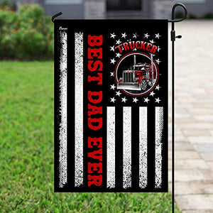 Best Dad Ever Trucker Garden Flags | House Flags | Double Sided Decorative Yard Flag For Spring Summer Fall Winter