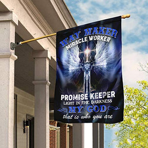 Way Maker Miracle Worker Promise Keeper Light in The Darkness Garden House Flags | Double Sided Decorative Yard Flag For Spring Summer Fall Winter