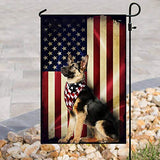 German Shepherd USA American Vintage Garden Flags | House Flags | Double Sided Decorative Yard Flag For Spring Summer Fall Winter