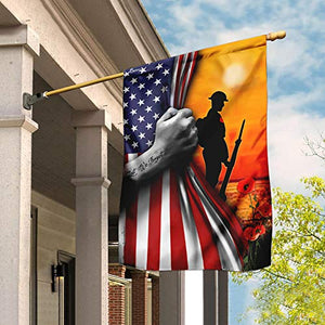 Veteran Lest We Forget Garden Flags | House Flags | Double Sided Decorative Yard Flag For Spring Summer Fall Winter