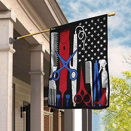Proud Barber Hairdresser and Hair Stylist Garden Flags | House Flags | Double Sided Decorative Yard Flag For Spring Summer Fall Winter