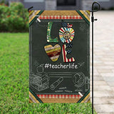 Teacher Life Vintage Garden Flags | House Flags | Double Sided Decorative Yard Flag For Spring Summer Fall Winter